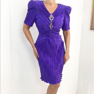 Vintage Dynasty Purple Pleated Cocktail dress